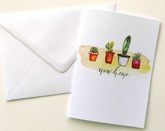 New Home watercolor greeting card