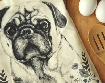 Pug Screen Printed Flour Sack Towel, Tea Towel