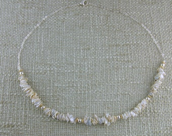 Keshi Pearl and Sterling Necklace