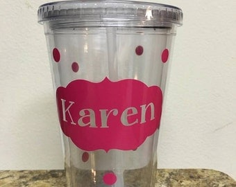 Personalized Double Wall Tumblers with Straw