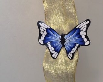 Blue butterfly hairclip