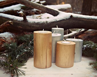 wooden candlesticks,  wooden candleholders, gold, candleholders gold, 5 candless