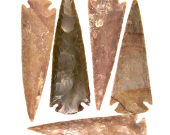 5 Spearheads Authentic Hand Crafted Agate Stone Spear Heads Randomly Selected FREE USA SHIPPING!