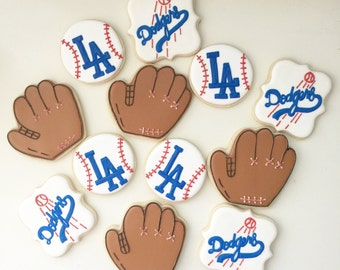 Dodger Cookies, Baseball Cookies, MLB Cookies, Treat Bags, Party Favors, Team Favors, Dessert Tables, Team Gifts, Birthday Cookies