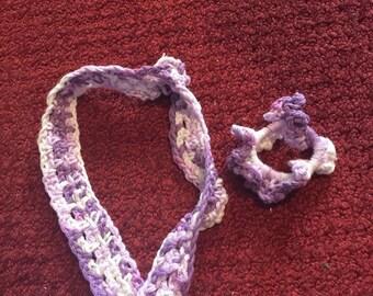 Headband & Scrunchie - Lavender/White