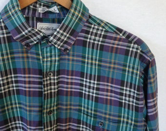 plaid button front shirt by Saks Fifth Ave