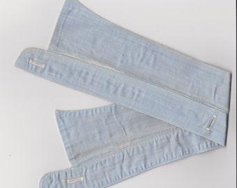 Vintage Workwear Detachable Collar Blue Cotton