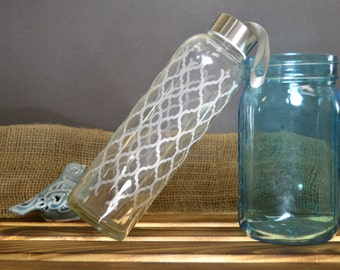 Glass Water Bottle with Etched Moroccan Design