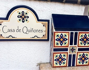 Customized Mexican tile mailbox - mexican tile - custom mailbox - spanish home decor - mexican decor - outdoor decor - wall mount mailbox