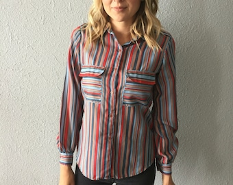 1980's Striped Secretary Hipster Polyester Blouse