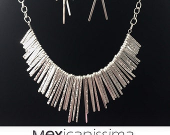 Spike Rain  Necklace sterling Silver