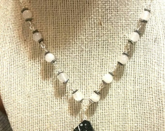 Black Goldstone and white jade necklace