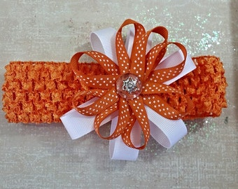 Orange/White Sweetie Bow