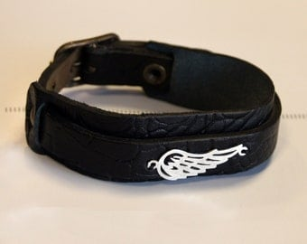 Silver Wing Black Leather