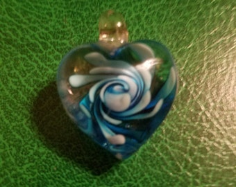 Venetian Murano art glass cobalt sapphire blue rose heart pendant for necklace chain great condition