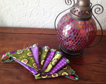 African bunting, tribal bunting, african wax print, purple and green bunting, ethnic, handmade