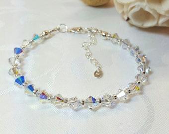 Aurora Borealis Bracelet, Crystal AB Bracelet, Crystal Bridal Bracelet, Sterling Silver, Swarovski Crystals, 30th Birthday, Gift For Her