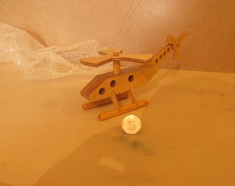 hand made wooden helicopter