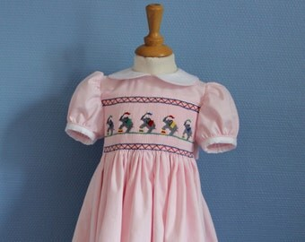 Child T 2 years old hand embroidered smocked dress