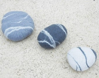Felted pebble stone decor, natural home decor, eco friendly gift, ornament, river rock, pure merino wool, pebble set x 3.
