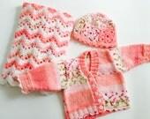 Hand Knit, Crochet, Irish Wool, Baby Girl Set, Newborn, Hat, Blanket, Cardigan, Pink