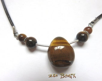 Necklace unisex Tiger eye, collar joint, Pierre tear Protection Brown, leather cord, zen jewelry, gift natural stone Tiger eye