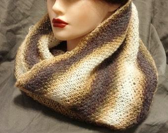 Handmade Knit Striped Infinity Scarf - Cowl