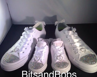 Custom Crystal Diamanté Mummy And Daughter Wedding White MONO Converse