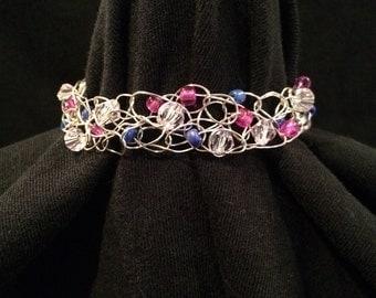 Pink,blue,clear bead  crocheted bracelet