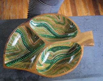 """Hand-painted wood large leaf bowl """"Leafy Greens"""" dottilism"""
