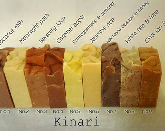 Kinari Handmade CP Soap olive oil Sheabutter 9 BARS * 9 scents