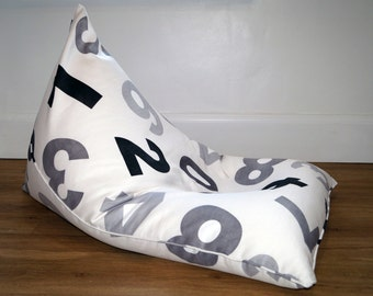 Huge kids and adult beanbag Pouf, Ottoman, Floor pillow. Numbers pattern.