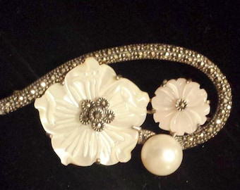 Sterling Silver .925  Flower Pin Brooch With Marcasite, Pearl, and Mother of Pear