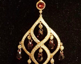 14K Yellow and White Gold Drop Pendant with Diamonds and Garnet