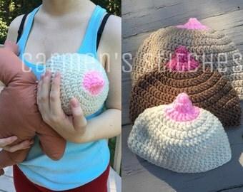 Nursing beanie - boobie beanie - newborn to 12 months - crochet - handmade - boobs - breast feeding - pro - funny - nipple - hat