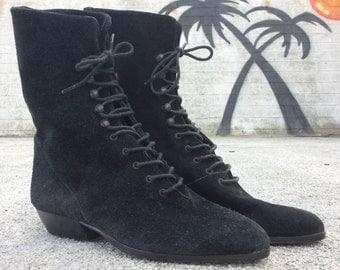 Vintage Black Suede Lace-Up Granny Boots, Size 5