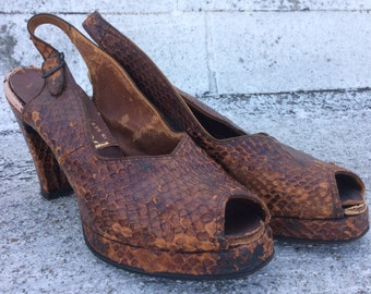 "Vintage ""Panette"" Brown Alligator Leather Peep Toe Slingback Heels, 7"