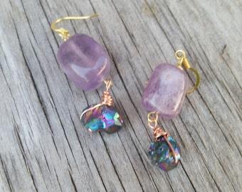 Amethyst & Rainbow Titanium Earrings