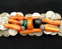 """Morocco - Front Bandeau """"Sfifa"""" Draa Valley – silver coins, coral, amber, shell, amazonite"""