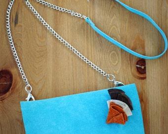 Turcoise leather clutch