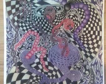 Psychedelic tribal checker funnels - art print