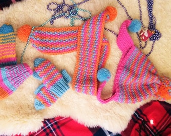 Knit  hat, scarf, mittens and socks