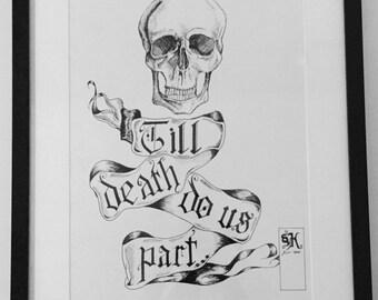 A3 Framed 'Till Death Do Us Part Ink Sketch Print