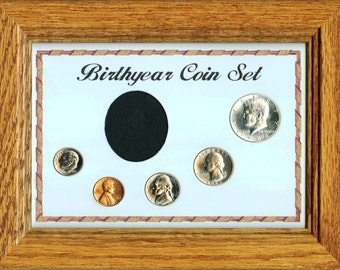 """Solid Oak Frame """"Birthyear Coin Set""""  with glass cover featuring the U.S. Special Mint Set Coins minted in 1966"""