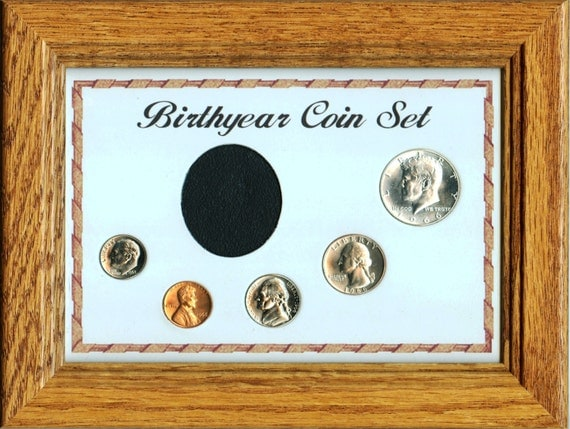 Solid Oak Frame Birthyear Coin Set With Glass