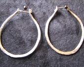Hoop earrings hammered silver