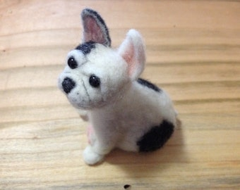 Pied French Bulldog needle felt
