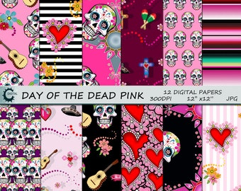 Day Of The Dead Pink- Digital Paper Collection 12x12