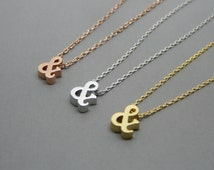 Ampersand necklace, Gold ampersand necklace, Silver ampersand necklace, Ampersand charm, And sybmol necklace