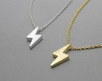 Tiny bolt necklace, Lightning bolt necklace, Thunder necklace, Everyday necklace, Dainty necklace, Minimalist necklace
